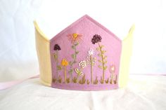 Pink and Yellow Flowered Waldorf Wool Felt Birthday Crown