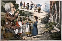 William GLADSTONE, 1809-98 British prime minister, as 'Papa Gladstone', with allegorical child characters representing peace, economy and industry, caricature in Papagallo journal, Italy, c. 1880Location:Private Collection