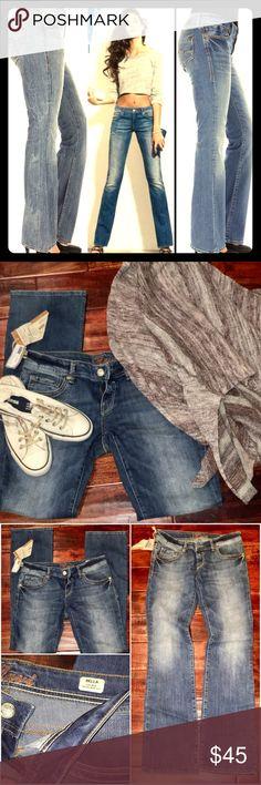 Mavi Bella Low-Rise Skinny Boot-Cut Premium Denim Super cute mavi jeans. Low rise, skinny fit, and boot cut style. Faded blue wash. The most flattering jeans on. Gotta love Mavi. Mavi Jeans Boot Cut