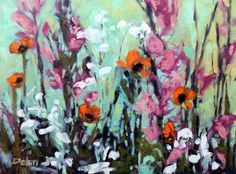 """Ivy Delon Fine Art-""""Poppies and Phlox II""""  24x18 Available"""