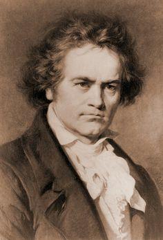 Ludwig van Beethoven (1770-1827) in portrait by Carl Jaeger.