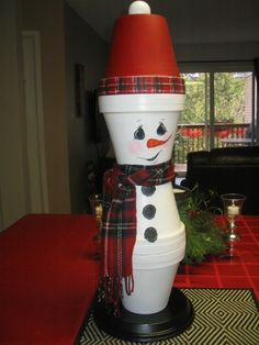 Clarence the clay pot snowman ready to go outside for the winter.