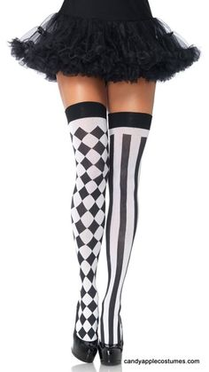 Add the finishing touch to any of our sexy clown or Harley Quinn costumes with these harlequin sexy thigh high stockings. These stockings are a great accessory for any of our sexy clown costumes. Thigh High Tights, Thigh Highs, Thigh Socks, Costume Harlequin, Socks Outfit, Cosplay Costume, Sexy Clown Costume, Jester Costume, Sexy Socks