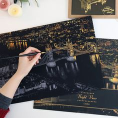 Scratch Night View London by LagodesignShop on Etsy