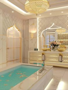 Contemporary luxury dream Moroccan style master bathroom interior design with beautiful decoratons. Get more interior design ideas & inspiration by visiting our website. #currentdesignsituation #luxuryinteriors #interiordesignideas #masterbathroom#spaziointeriordecorationllc Mansion Interior, Luxury Homes Interior, Luxury Home Decor, Home Interior Design, Design Interiors, House Interiors, Modern Interior, Modern Furniture, Moroccan Interiors
