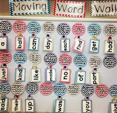 Moving Word Wall- interesting idea!  Like the idea of kids being able to take rings back to their seat!