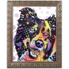 Trademark Fine Art Border Collie Canvas Art by Dean Russo, Gold Ornate Frame, Size: 11 x 14