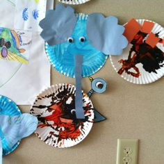 Mo Williems pigeon.  My children love looking for the pigeon on the back inside cover of the elephant and piggie books by Mo Williems, so I made one to hide around the classroom and I rehide it when the children have discovered it's new location.