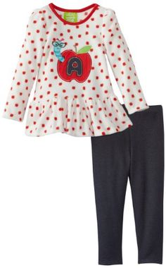 Watch Me Grow! by Sesame Street Girls 2-6X 2 Piece Apple Worm Dress and Pant
