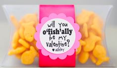 """VALENTINE OR birthday TREAT to hand out in class for a treat: MARKIE IS NOT YET o""""fish""""ally 6 years old! ;)"""