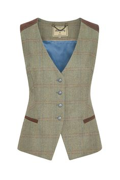 The Daisy tweed waistcoat is an attractive tweed piece with leather detailing…