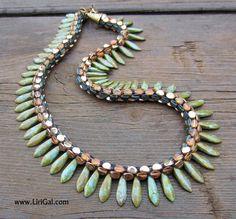 Create your own, super-elegant necklace ! You will need:Czech Dagger beads,Chech Pinch beads.  Technique: Kumihimo round braiding with 8 strands and