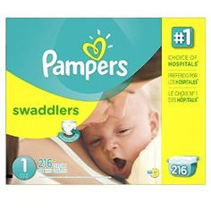 Baby in Diapers: Pampers Swaddlers Diapers Size 1 Economy Pack Plus...