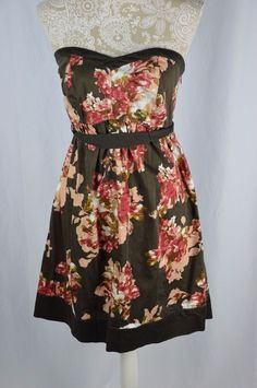 Motherhood Maternity Small Brown Floral Strapless Dress Tie Belt Knee Length #MotherhoodMaternity #Sundress #Casual