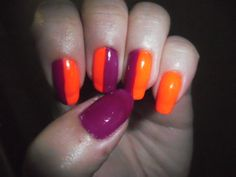 Last blast nails for summer's end!  Neon orange and bright purple; colors that really pop in the sun.