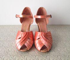 1940s Shoes // Blush Pink Satin 1940s Peep by myVintageValentine, $52.00