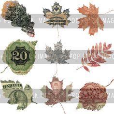 World Currency Clipart Elements - 9 Leaves in PNG Format - Vintage Clip Art - European Ephemera & More - Digital Scrapbooking Elements