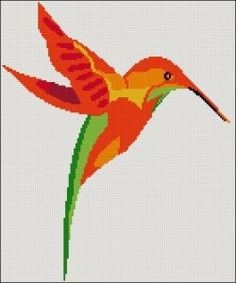 I love stitching hummingbirds, they are such beautiful birds!  I have created a free cross stitch pattern for everyone and this is a modern design...
