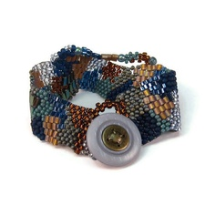 Beaded Patchwork Freeform Bracelet Cuff Blue by playnwithbeads