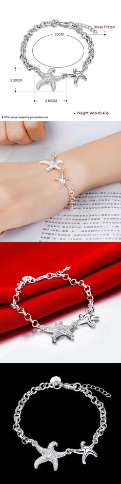 2017 new Design Sea Star 925 Sterling silver color  Bracelet For Women Siamese Starfish women lady Jewelry