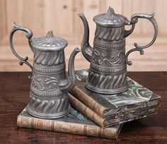 Pair Antique Pewter Syrup/Chocolate Pitchers | Culinary Antiques | Inessa Stewart's Antiques