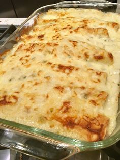 These Sour Cream Chicken Enchiladas do not have a can of soup in it! You make a roux with chicken broth. It's creamy and so delicious!