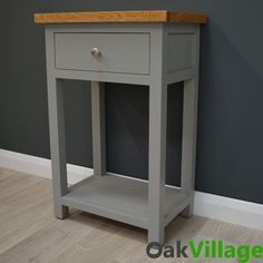 Greymore Painted Oak Small Console Table – Oak Village Storage Drawers, Storage Shelves, Hallway Seating, Small Console Tables, Telephone Table, Grey Paint, Quality Furniture, Solid Oak, Living Spaces