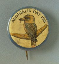 Australia Day badge featuring a kookaburra sitting on a boomerang. The text at the top of the badge reads 'Australia Day Australia Landscape, Australian Vintage, Names Of Artists, Anzac Day, Big Country, Australia Day, National Museum, Bird Art, Vintage Brooches