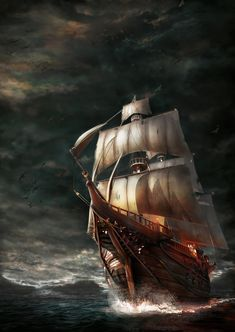 Pirateship in the storm, Hakan Aydin Pirate Art, Pirate Ships, Pirate Ship Drawing, Realistic Tattoo Sleeve, Famous Pirates, Old Sailing Ships, Pirate Adventure, Great Works Of Art, Ship Paintings