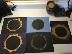 Blow painting, oil pastels, or chalk solar eclipse art
