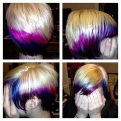 My art! Blonde plus pink, purple, yellow, blue and red! Asymmetrical cut!