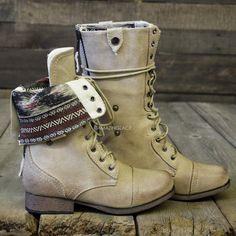 Southern Pines Beige Tribal Fold Over Combat Boots | Amazing Lace