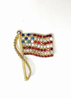 Vintage USA Flag BROOCH Patriotic Pin  Rhinestones by ESTATENOW