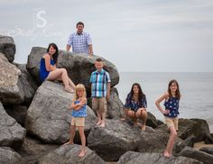 Family Beach Photography • Premo Family • Shelly Ramsey Photography • Virginia Beach, VA  Kids standing on the rocks.