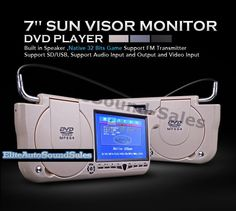 SunVisor Dvd Player Dual Car Monitor USB SD    un Visor DVD monitors - We carry the very best sun visor DVD players and sun visor LCD monitors technology on the market today. Sun visor monitors and DVD players are an interesting and cool way view your favorite movies without the screen space limitations in-dash car DVD players normally present.