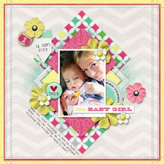 Little Baby Girl digital scrapbook layout page by Chanell Rigterink