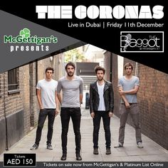 Brilliant Irish rockers, The Coronas, will take over the stage in The Baggot this December for what is set to be their greatest Dubai gig yet! Don't miss it! Friday 11th December 2015. Click on the pin for more info.