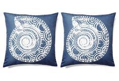 S/2 Shell 20x20 Outdoor Pillows, Navy on OneKingsLane.com
