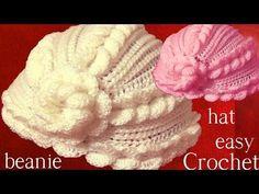 Como tejer gorro Boina a Crochet o Ganchillo en punto remolino en relieve - YouTube