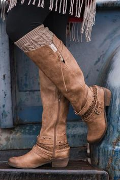 Along For the Ride Embellished Strappy Riding Boot (Tan) - NanaMacs.com - 1