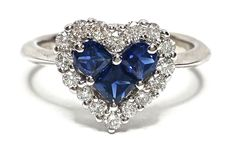 Sapphire & Diamond Heart Ring AAA Quality Natural Blue .30CTW Size 4.5 GV90813 #Cluster #Birthday