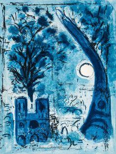 Marc Chagall (1887-1985) - Notre-Dame et la Tour Eiffel (M.285)