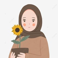 Art And Illustration, Sunflower Illustration, Character Illustration, Illustration Fashion, Portrait Illustration, Cartoon Drawings, Cute Drawings, Anime Girl Drawings, Girl Cartoon
