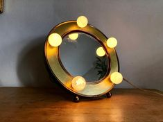 Vintage Gold Vanity Mirror with Lights by Underwritters Laboratories, Tabletop Double Sided Swivel Mirror, Hollywood Regency Makeup Dressing Gold Vanity Mirror, Mid-century Interior, Dress Makeup, Mirror With Lights, Hollywood Regency, Tabletop, 3 D, Dressing, Bulb