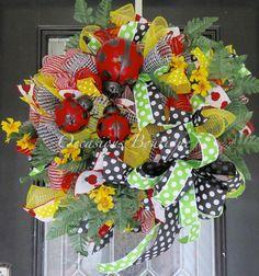 XL Summer Wreath, Lady Bug Wreath, Wreath for Summer, Deco Mesh Wreaths, Front Door Wreath, Door Hanger, Wreath for Door, Ready to Ship by OccasionsBoutique on Etsy
