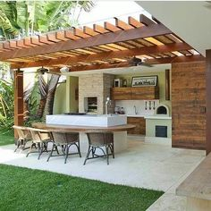 Outdoor Kitchen Patio, Outdoor Kitchen Design, Outdoor Rooms, Outdoor Living, Backyard Seating, Backyard Patio Designs, Outdoor Pergola, Small Backyard Design, Gazebo