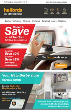 Client : halfords Country : UK URL : http://www.halfords.com/ Category : アウトドア Detail : Proximity Targeting provides an easy way to target content to a recipient based on their proximity to a specific location. This can be useful, for store openings, events etc. プロキシミティターゲティングは、特定の場所への近接性に基づいて、コンテンツを受信者に簡単にターゲティングできます。これは、店舗の開口部、イベントなどに便利です。
