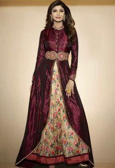 Maroon Raw Silk Designer Suit 6300