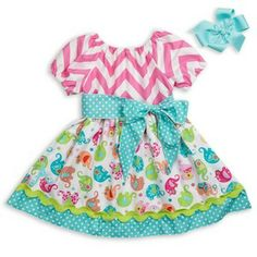 Multi Elephant Pink Chevron Sash Dress