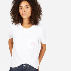The 100% Human Cotton Box-Cut Tee in Small Print – $22  White/Pink - Medium      For every limited-edition pink 100% Human product sold, we're proud to donate $5 to Equality Now, which has been fighting to promote equal rights for women around the world since 1992.